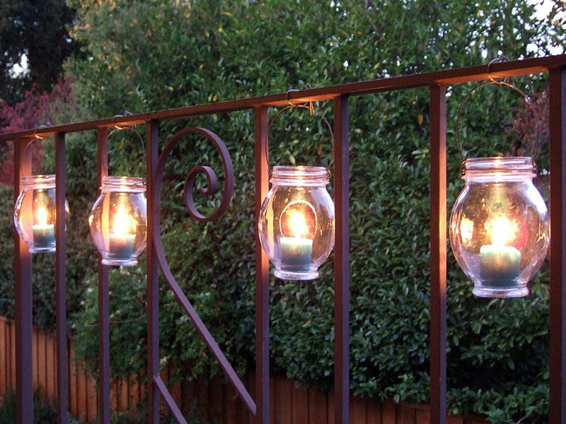 2 hanging jar lights backyard lighting ideas