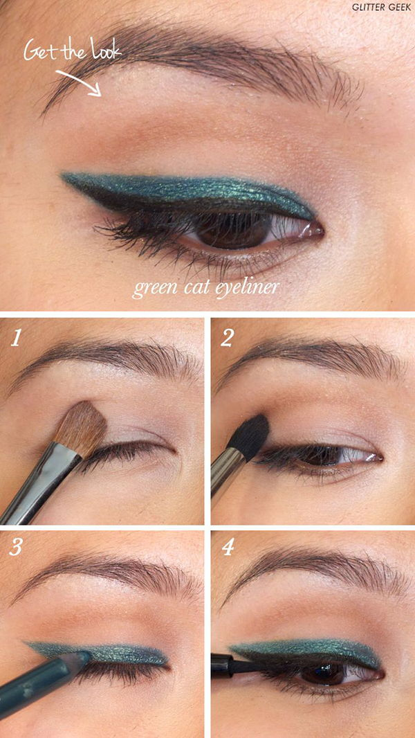 Emerald Green Cat Eye Liner