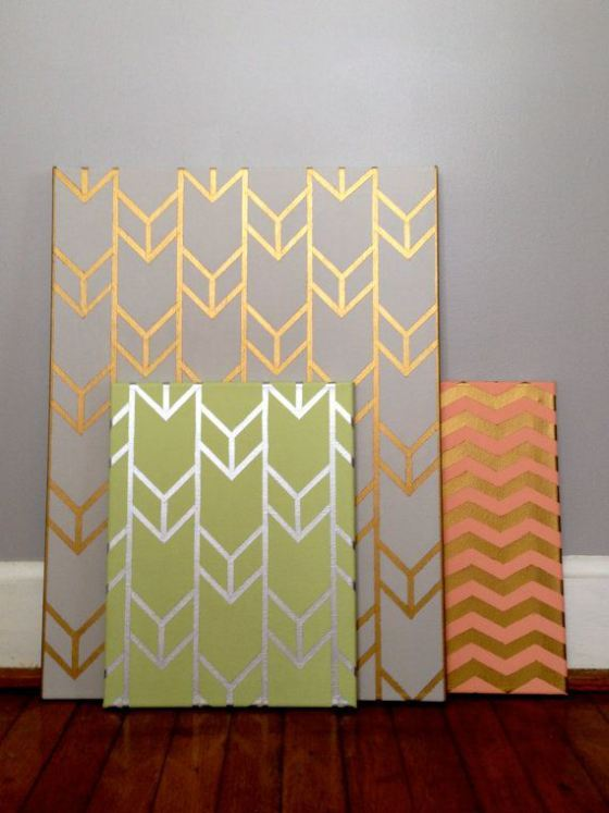 2 Gold Stenciled Canvas