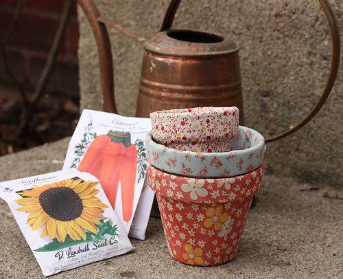 Pretty Fabric Terracotta Pots