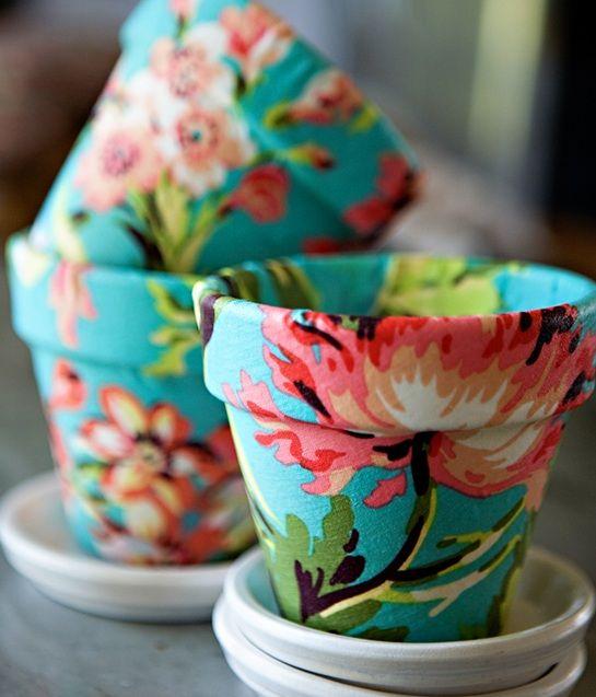 Floral Fabric Pots