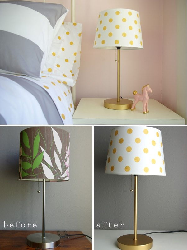 50 Glamorous DIY Lampshade Projects to Decorate Your Home ...:4 Gold Dot Lampshade,Lighting