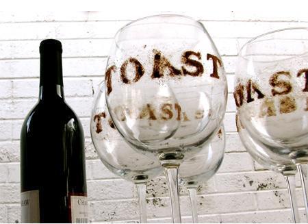 Stenciled Wine Glass