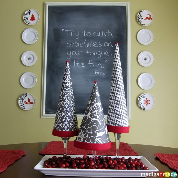 Topiary Trees from Pretty Paper and Wine Glasses