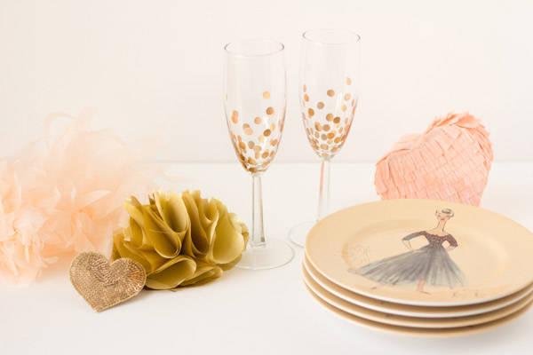 Gold Polka Dot Champagne Glasses