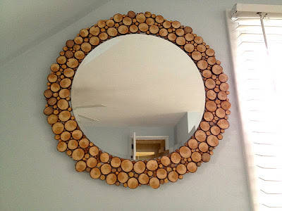 Circular Mirror with Wood Slices