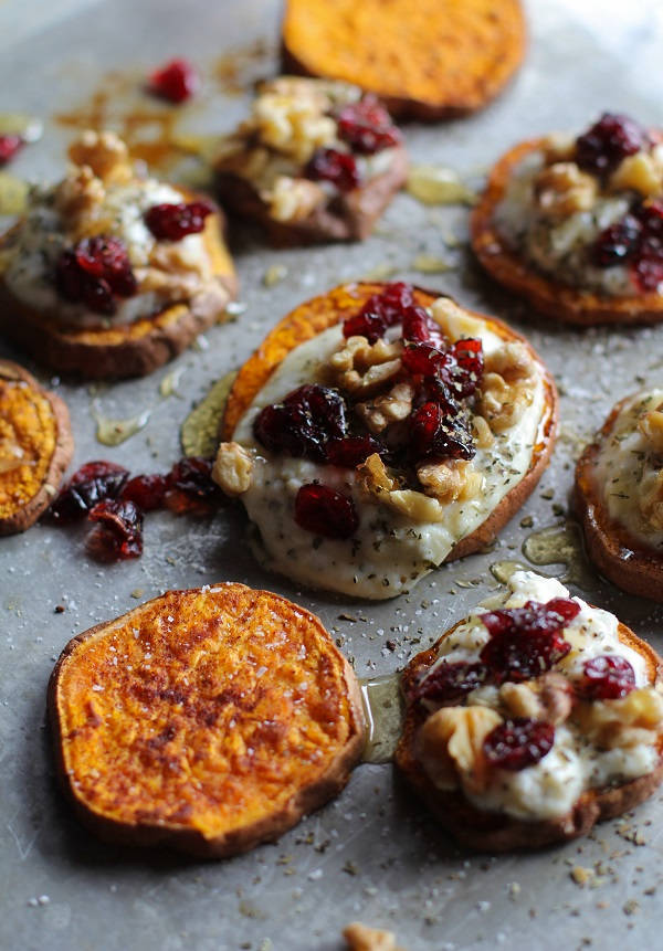 23. Sweet Potato Rounds : Cinnamon roasted sweet potato rounds with ...