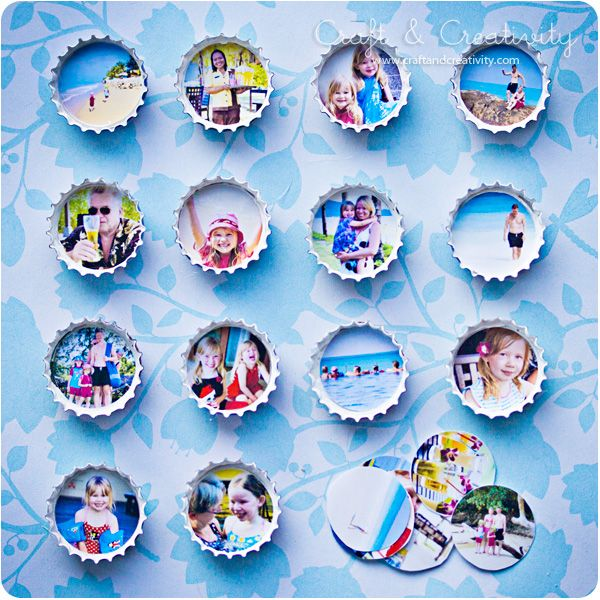 6 bottle cap photo frames