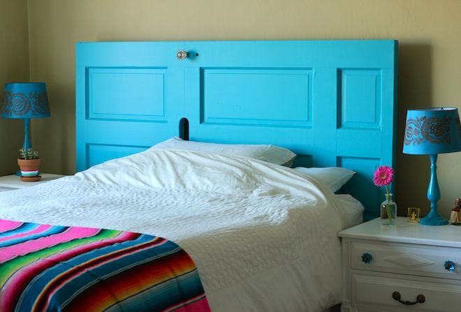 50 cheap ways to decorate an apartment page 10 list for How to make a headboard out of a door