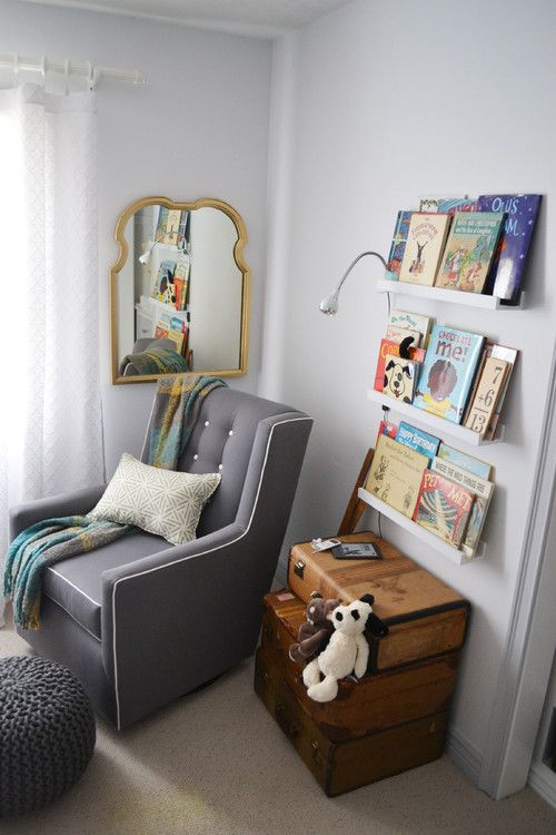 1 Hang picture book shelves and stack suitcases as storage. 30 Ingenious DIY Project Ideas For Small Spaces   ListInspired com