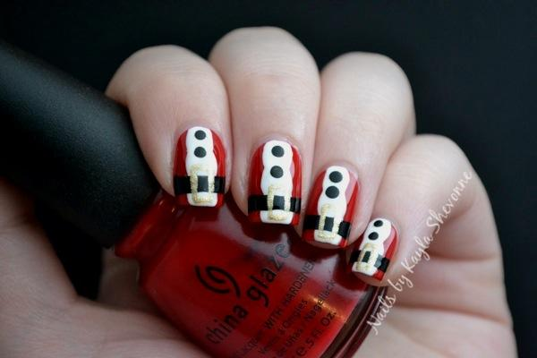 20 santa suit nail art via nails by kayla shevonne