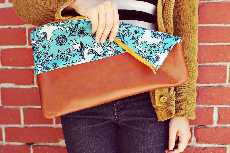 Cotton and Leather Clutch Purse