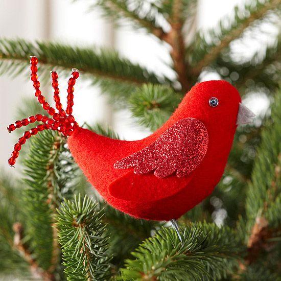 Red Bird Felt Ornament