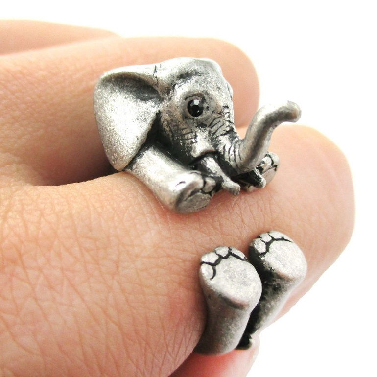 Elephant Ring In Silver