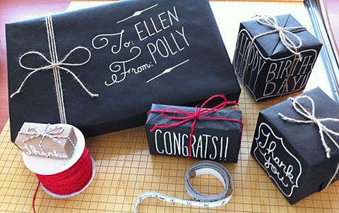 Gift Wrap with a Chalkboard Look