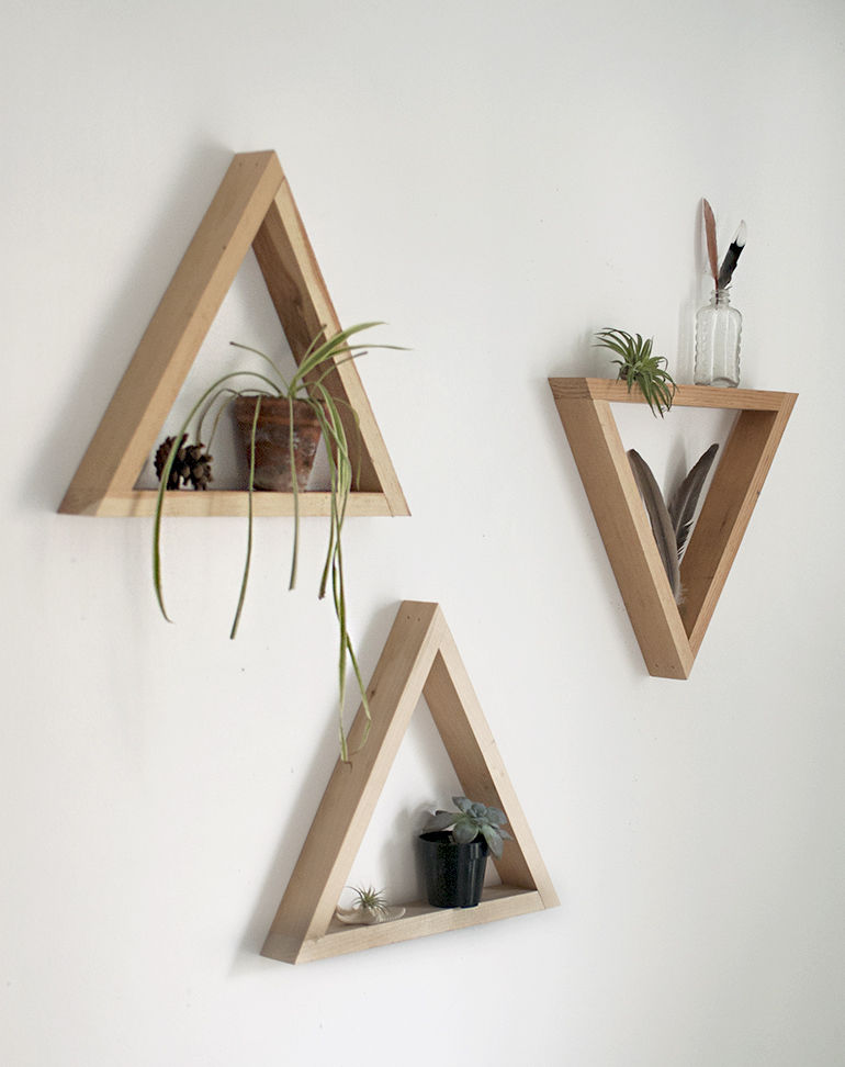 Wooden Triangle Shelves