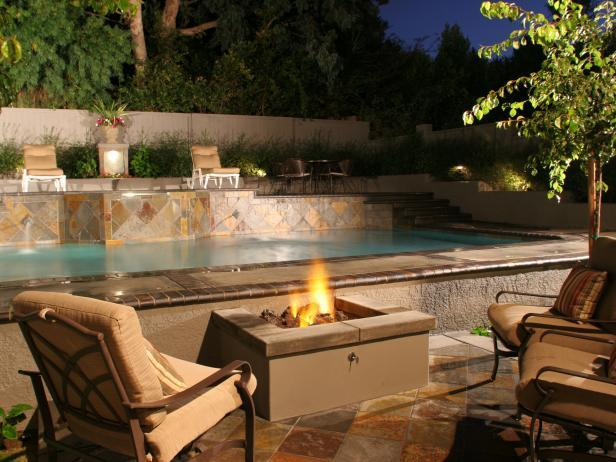28. Kalamian Firepit : DIY Network: Enjoy a relaxing night swim and ...