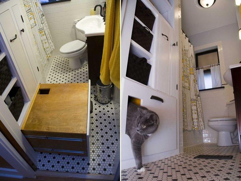 Built-in, Self Venting Cat Box