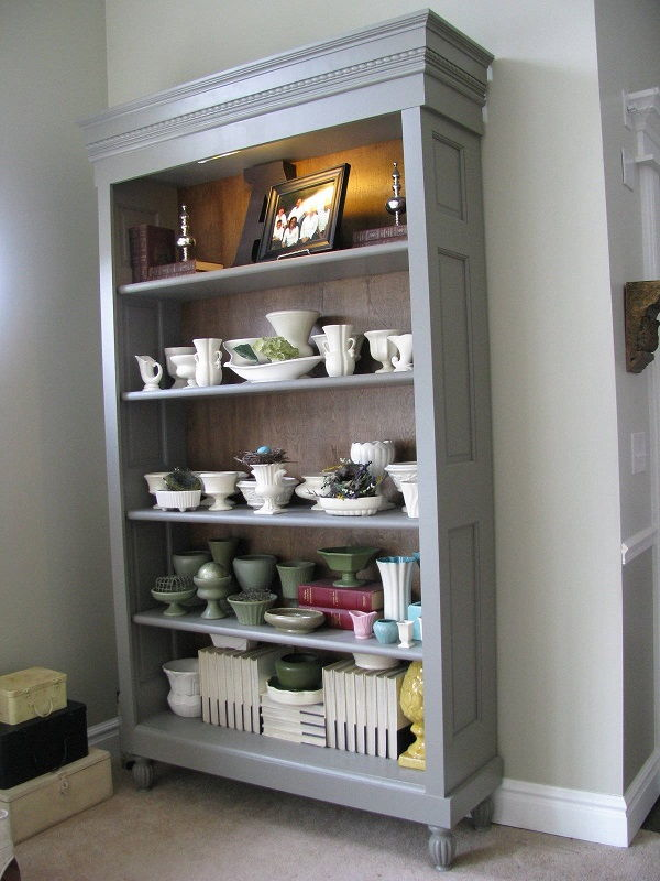 Perfect  Bookcase Has Original Wavy Glass In The Doors Shelves Are Adjustable