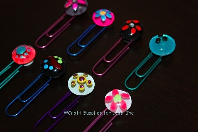 Glass Gem and Paperclip Bookmarks