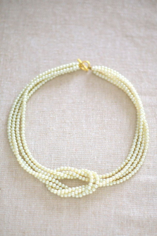 Pearl Bead Square Knot Necklace