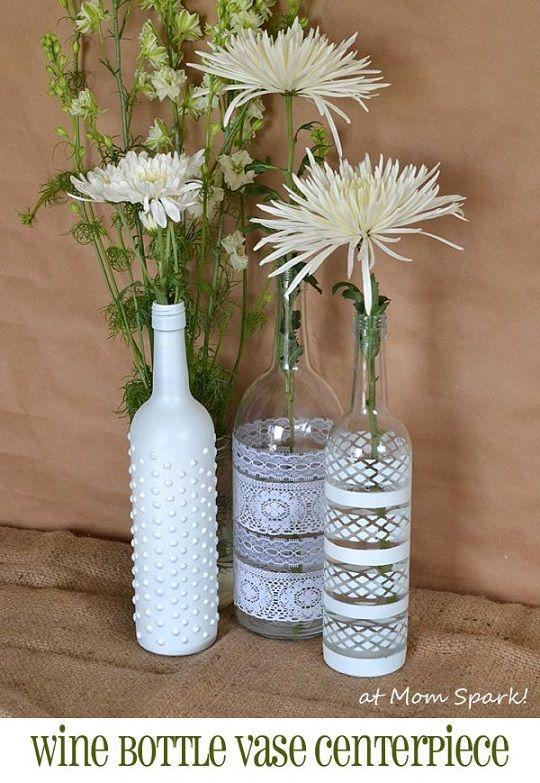 40 creative diy wine bottle craft ideas page 7 for Wine bottle flower vase