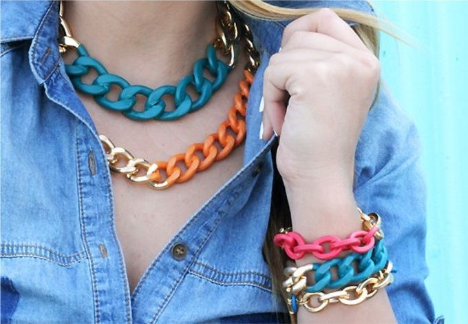 Color Chunky Chain Jewelry