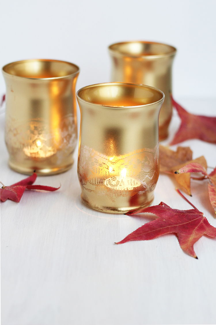 Gold Lace Candle Holder