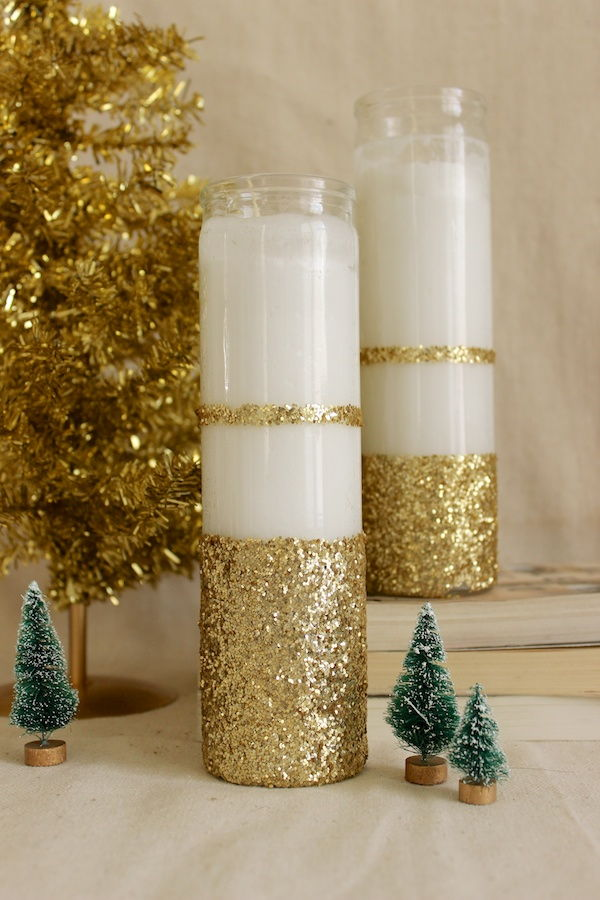 6 diy glittered candles - How To Decorate Votive Candle Holders For Christmas