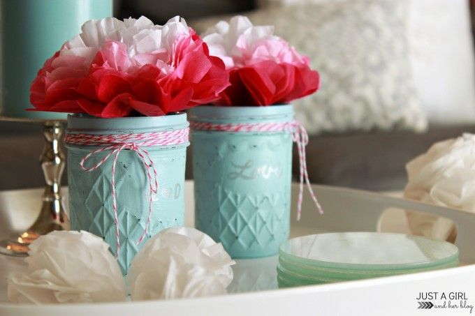 Simple Painted Glass Jars