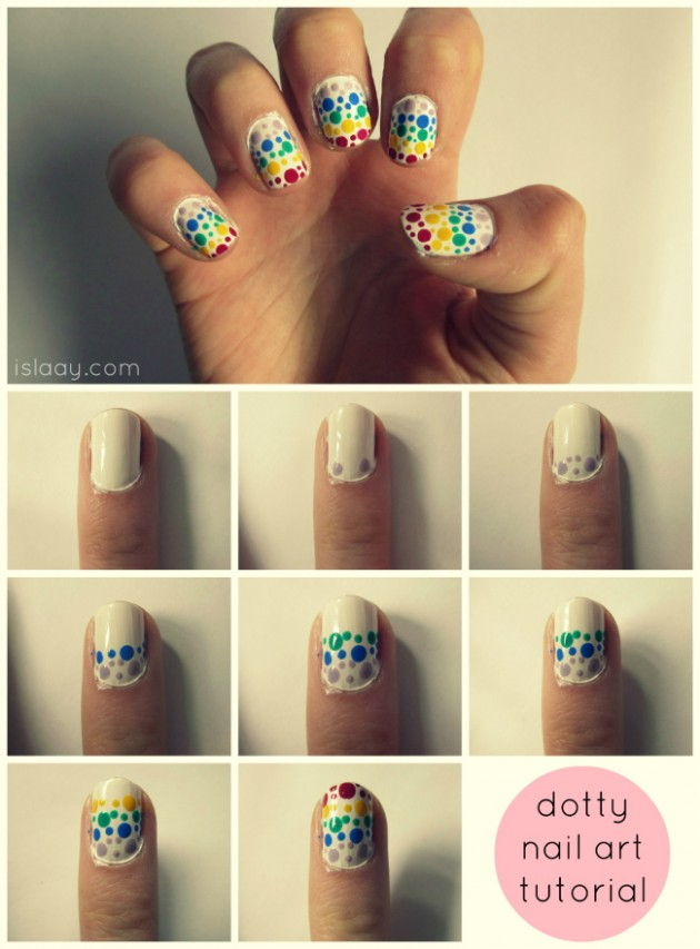 Rainbow Dotty Nails