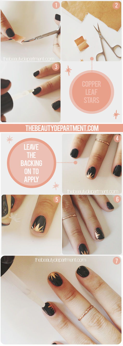 Copper Leaf Starbust Nail