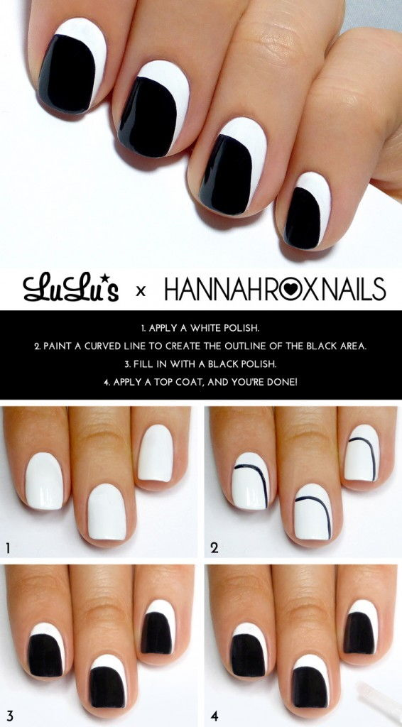 Black and White Asymmetrical Crescent Mani