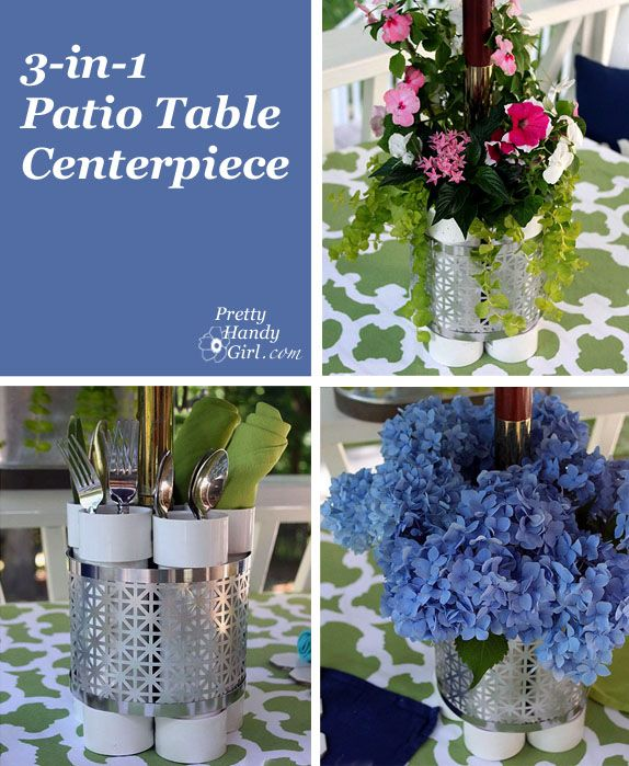 Outdoor Patio Table Planter, Vase and Serving Station