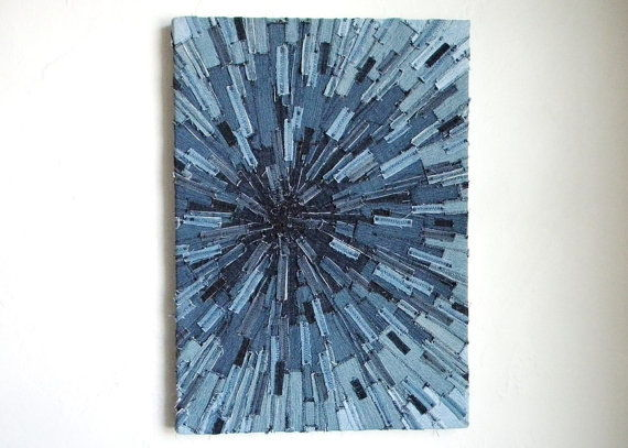 Denim Sunburst Textile Art