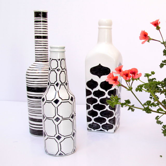 Painted Wine Bottle Vases
