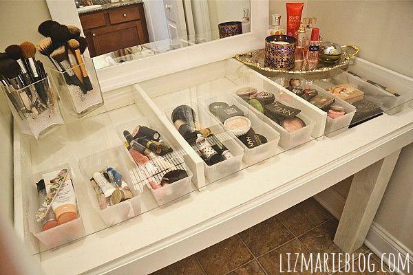 38 Glass Top Makeup Vanity