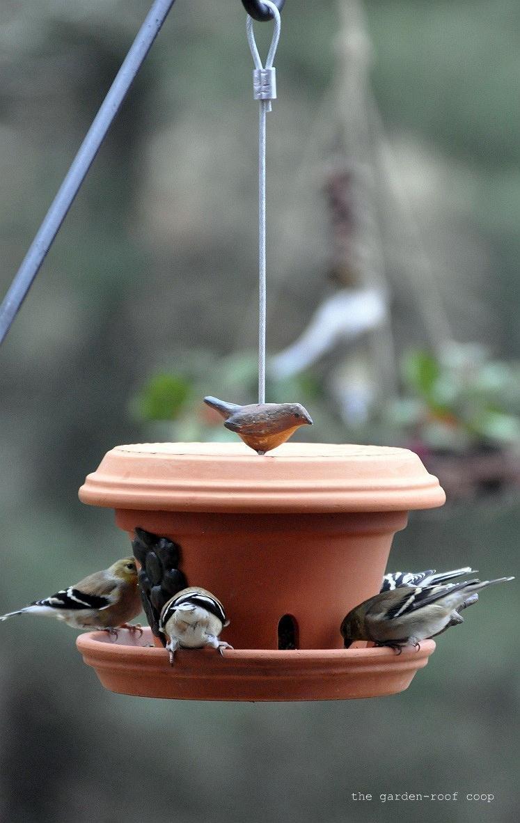 Small clay pots for crafts - 1 Flowerpot Bird Feeder