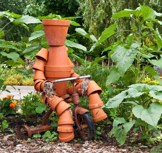 Terra Cotta Clay Pot Garden Person
