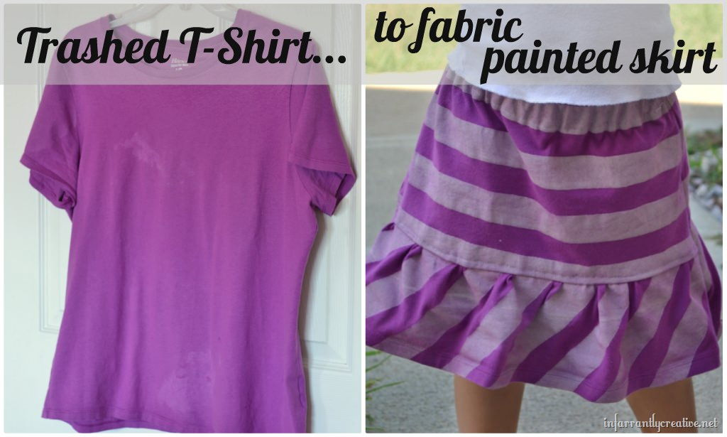 Upcycled Painted T-Shirt Skirt