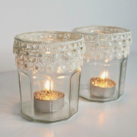4 Lace Tealight Holders