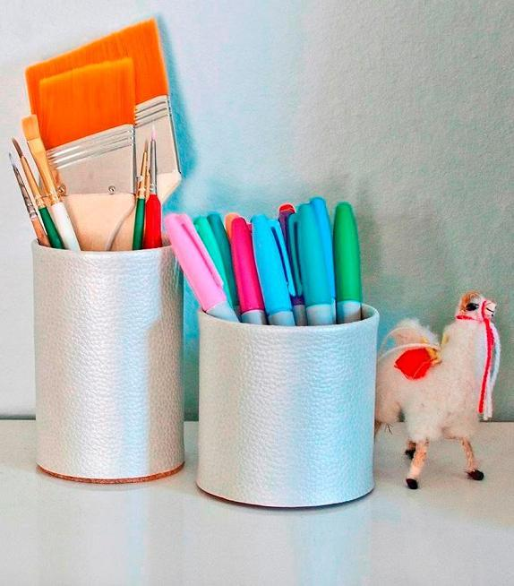 Faux Leather Pencil Cup