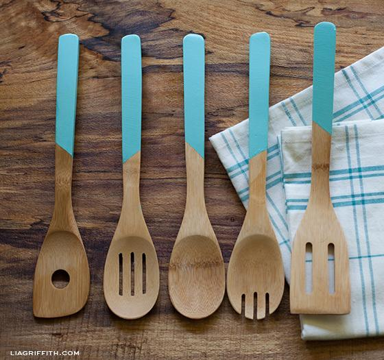 Faux Paint Dipped Spoon Handles