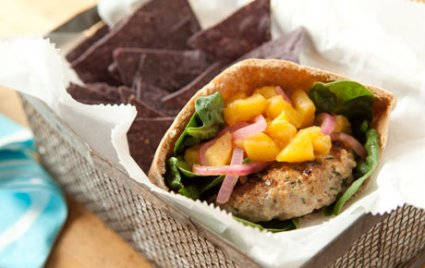 Grilled Pork Burger with Savory Pickled Peaches