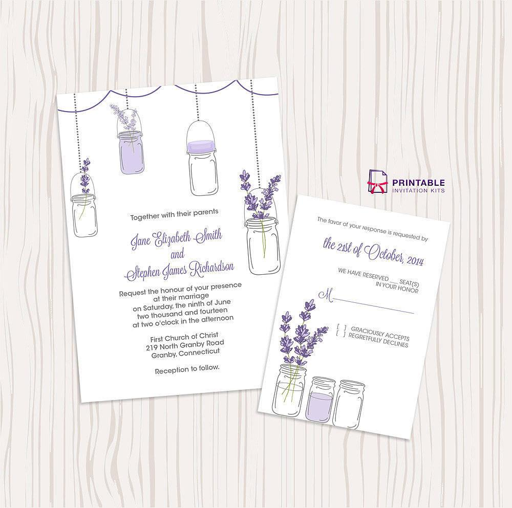 2 lavender and mason jar wedding invitation