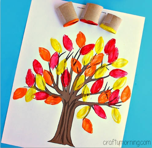 Leaf Stamping Have Your Kids Make This Easy Fall Tree Craft Using A Toilet Paper Roll Paint And Paintbrush You Can Also Use Free Printable