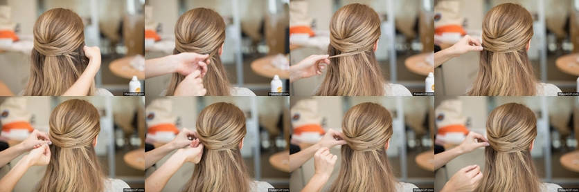 Create an easy, cool updo in seconds with just bobby pins