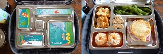 Cut down packaging by using a lunch box with divided compartments