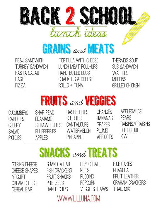 Print out this great list of lunch ideas