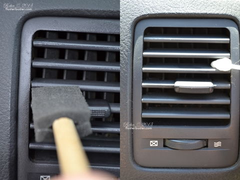 Use a cotton swab or a sponge brush to clean the vents